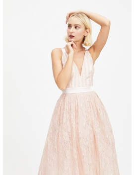 Dolly & Delicious Pink Lace Plunge Front Prom Dress by Miss Selfridge