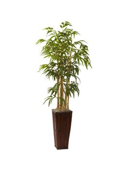 Nearly Natural 6737 4 Feet Bamboo With Decorative Planter, Green by Nearly Natural