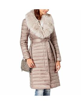 T Tahari Women's Max Belted Faux Fur Collar Puffer Long Maxi Coat by T Tahari