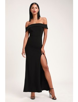 Aveline Black Off The Shoulder Maxi Dress by Lulus