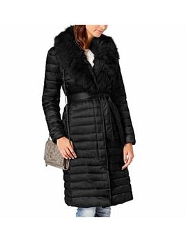 T Tahari Women's Max Belted Faux Fur Collar Puffer Long Maxi Coat Black by T Tahari
