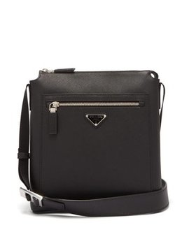 Logo Plaque Leather Messenger Bag by Prada