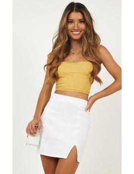 International Babe Skirt In White Linen Look by Showpo Fashion
