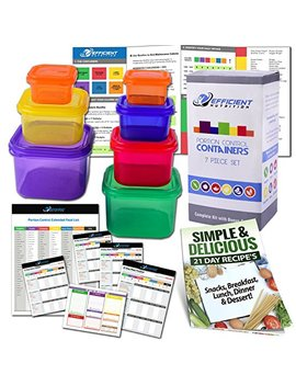 Efficient Nutrition Portion Control Containers Kit (7 Piece) + Complete Guide + 21 Day Planner + Recipe E Book, Bpa Free Meal Prep System For Diet And Weight Loss, Similar To 21 Day Fix Containers by Efficient Nutrition