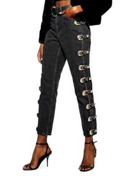 32 Inch Leg Gold Buckle Mom Jeans by Topshop
