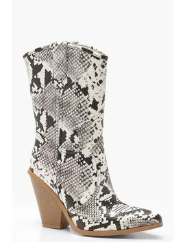 Calf High Western Boots by Boohoo