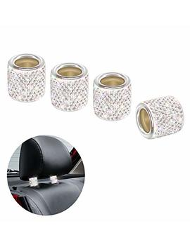 Q Beel Car Headrest Collars, 4 Pack Handcrafted Rhinestone Car Decorations Interior Universal Bling Car Accessories For Women   Silver by Q Beel
