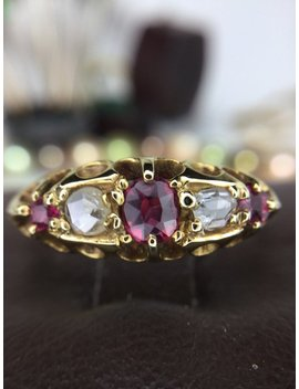 antique-rose-cut-diamond-sapphire-ring-18k-yellow-gold-c1905 by etsy
