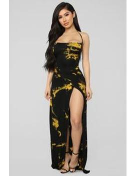 Stained With Envy Halter Dress   Black/Mustard by Fashion Nova