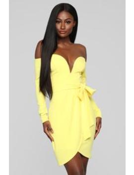 Good Impressions Off Shoulders Mini Dress   Yellow by Fashion Nova