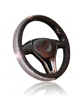 Car Crystal Bling Wheel Cover  Zone Tech Shiny Steering Wheels  Anti Slip Rhinestones Pu Leather Backing  Bling Shiny Diamond Wheel Protector by Zonetech