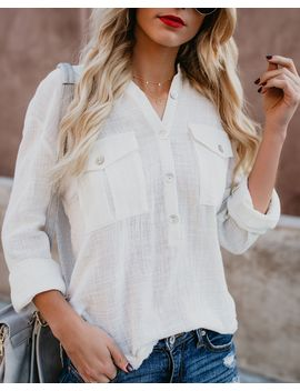 Breathless Cotton Button Down Top by Vici