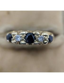 Edwardian 18ct Yellow Gold Sapphire And Diamond Half Hoop (Size M 1/2) by Etsy
