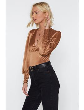 Slinky Plunge Balloon Sleeve Blouse by Nasty Gal