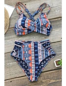 Boho Print Cross Front Bikini by Cupshe