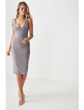 Party Shiny V Neck Dress by Cotton On