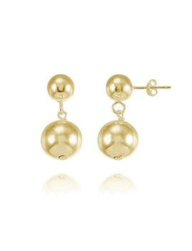 Sterling Silver Graduated Double Ball Bead Dangle Drop Earrings by Hoops & Loops