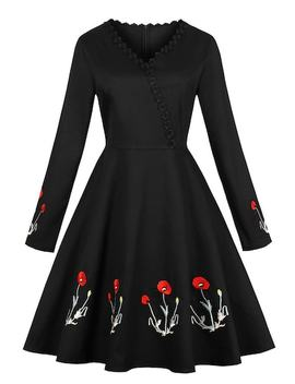 50s Floral Embroidered Zip Back Dress by Sheinside