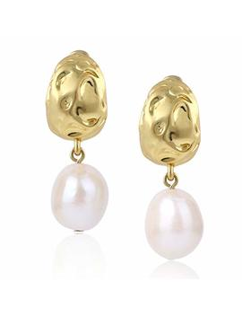 14 K Gold Plated Baroque Cultured Pearl Drop Dangle Stud Earrings For Women Girls by Cozlane