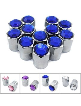 Sparkle Rider Crystal Rhinestone Bling Tire Valve Stem Caps   Chrome Air Cover Fits Schrader Valves   Cool Car, Motorcycle, Truck Or Bicycle Wheel Accessory (12 Piece Set, Blue) by Sparkle Rider