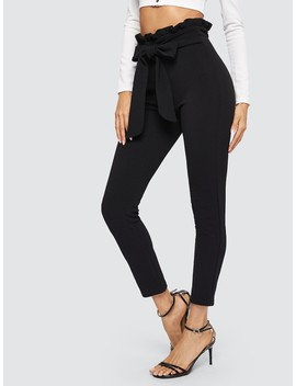 Paperbag Waist Skinny Pants With Belt by Shein