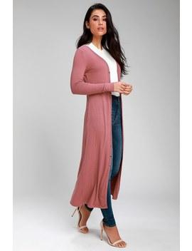 Middleton Rusty Rose Long Cardigan Sweater by Lulus