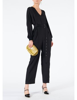 Mendini Twill V Neck Jumpsuit With Ribbed Cuff by Tibi