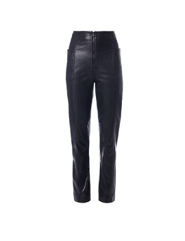 Leather High Waisted Zip Front Pants by Tibi