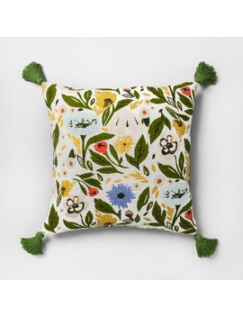 Multi Floral Print Reverse To Velvet Oversize Square Throw Pillow   Opalhouse™ by Shop Collections