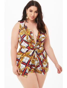 plus-size-plaid-baroque-twist-front-romper by forever-21