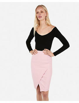 High Waisted Asymmetrical Slit Pencil Skirt by Express