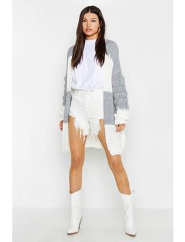 Bobble Sleeve Colour Block Cardigan by Boohoo