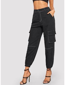 Contrast Stitching Suede Pants by Sheinside