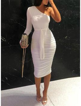 One Shoulder Ruched Design Bodycon Dress by Ivrose