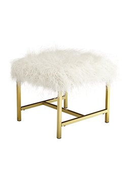 Ashley Furniture Signature Design   Elissa Accent Stool   Contemporary   White Fax Fur   Gold Metal Legs by Signature Design By Ashley