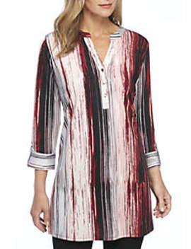 3/4 Sleeve Stripe Tunic by New Directions