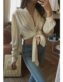 80's Vintage French Beige Blouse Shirt by Marcel Gracieuse