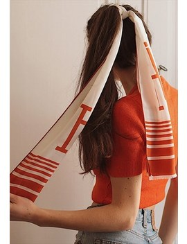 70's Vintage Silk Beige And Orange Scarf by Marcel Gracieuse