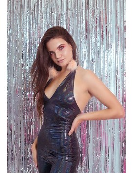 Midnight Holographic Black Flared Catsuit by Em's The Label