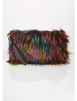 Multi Colored Faux Fur Clutch by Ashley Stewart