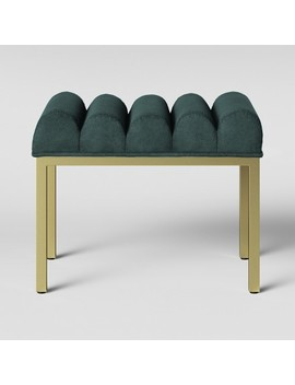 Lyre Chanel Tufted Ottoman With Brass Legs Velvet Teal   Opalhouse™ by Opalhouse