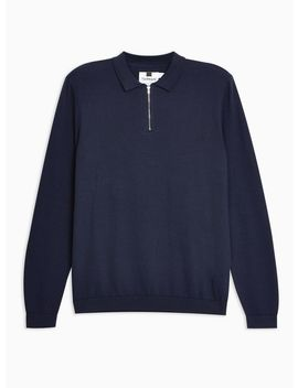 Navy Long Sleeve Zip Polo Jumper by Topman