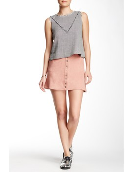 Snap Front Vegan Suede Skirt by Paper Crane