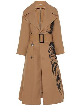 Printed Cotton Blend Twill Trench Coat by Oscar De La Renta