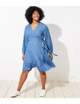 Loft Plus Chambray Ruffle Wrap Dress by Loft