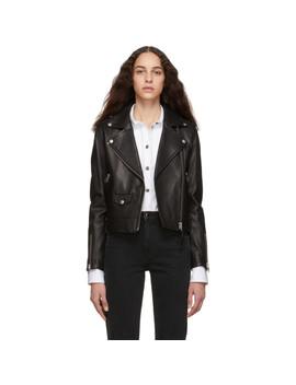 Black Leather Baya Jacket by Mackage