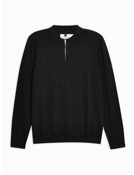 Black Long Sleeve Zip Polo Jumper by Topman