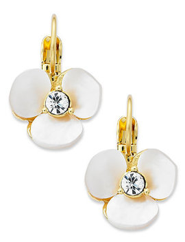 Earrings, Gold Tone Cream Disco Pansy Flower Leverback Earrings by Kate Spade New York