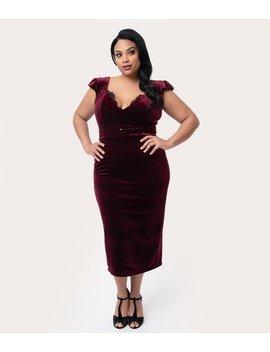 La Femme En Noir Plus Size 1950s Oxblood Red Velvet Baudelaire Wiggle Dress by Unique Vintage