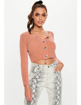 terracotta-chenille-button-cropped-cardigan by missguided